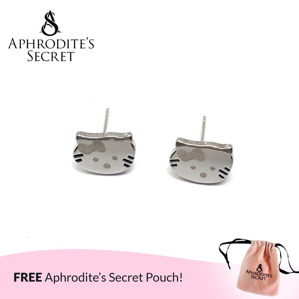 Aphrodite's Secret High Quality Stainless Steel Kitty Design Earrings