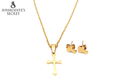 Aphrodite's Secret High Quality Stainless Steel Gold Cross Pendant  Design Necklace & Earrings Set