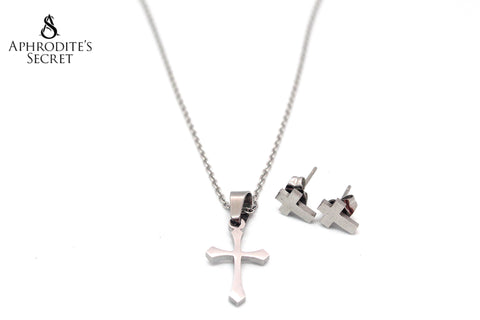 Aphrodite's Secret High Quality Stainless Steel Silver Cross Pendant  Design Necklace & Earrings Set