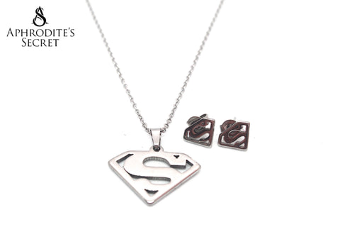 Aphrodite's Secret High Quality Stainless Steel Superman Logo Pendant Design Necklace & Earrings Set
