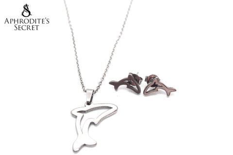 Aphrodite's Secret High Quality Stainless Steel Dolphin Pendant Design Necklace & Earrings Set