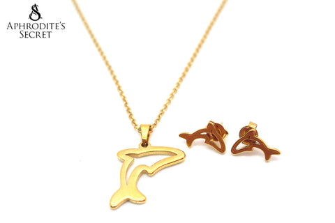Aphrodite's Secret High Quality Stainless Steel Gold Dolphin Pendant Design Necklace & Earrings Set