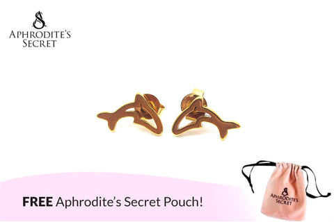 Aphrodite's Secret High Quality Stainless Steel Dolphins Design Earrings
