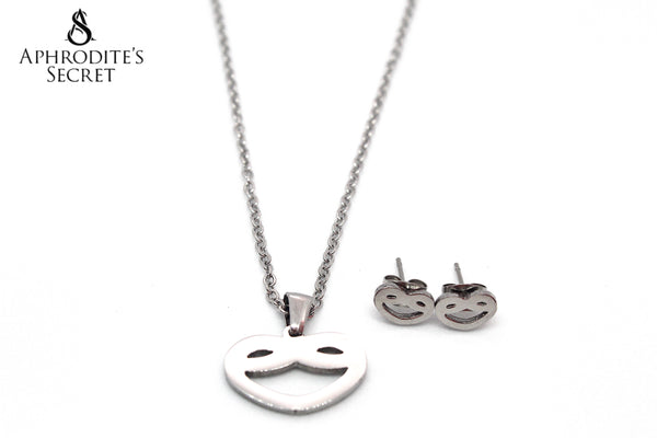 Aphrodite's Secret High Quality Stainless Steel Smiling Heart Pendant Design Necklace & Earrings Set