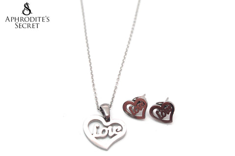 Aphrodite's Secret High Quality Stainless Steel Love Heart Pendant Design Necklace & Earrings Set