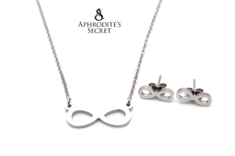 Aphrodite's Secret High Quality Stainless Steel Infinity Pendant Design Necklace & Earrings Set
