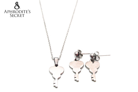 Aphrodite's Secret High Quality Stainless Steel Key Pendant Design Necklace & Earrings Set