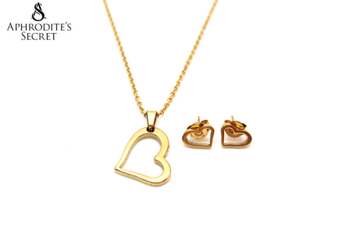 Aphrodite's Secret High Quality Stainless Steel Gold Dangling Heart Pendant Design Necklace & Earrings Set