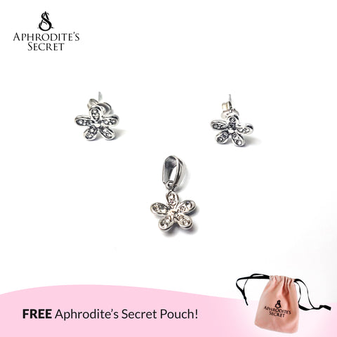 Aphrodite's Secret High Quality Stainless Steel Dazzling Daisies Stud Pendant & Earrings Set (Pandora Inspired)