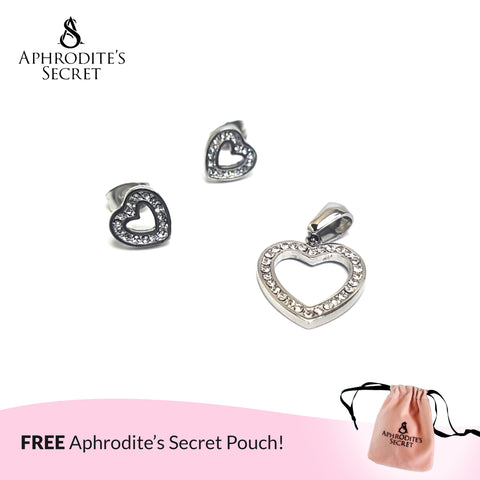 Aphrodite's Secret High Quality Stainless Steel Heart Stud Pendant & Earrings Set (Pandora Inspired)