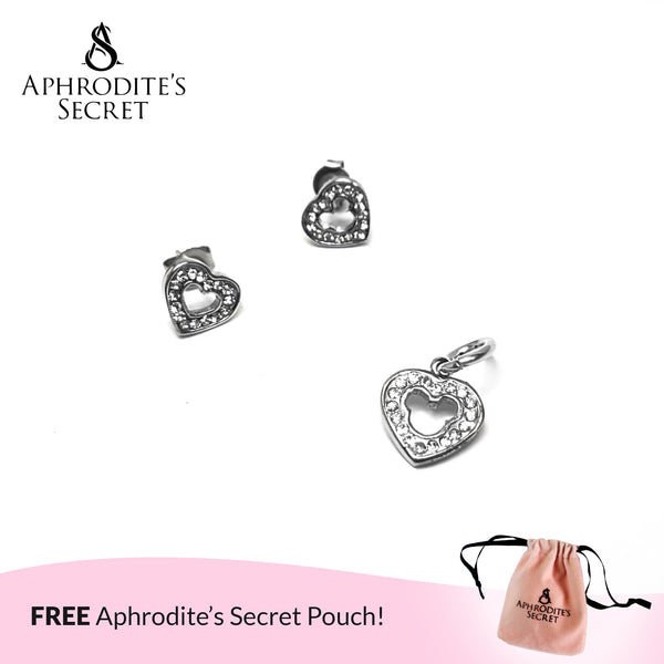 Aphrodite's Secret High Quality Stainless Steel Heart Mickey Icon Stud Pendant & Earrings Set (Pandora Inspired)