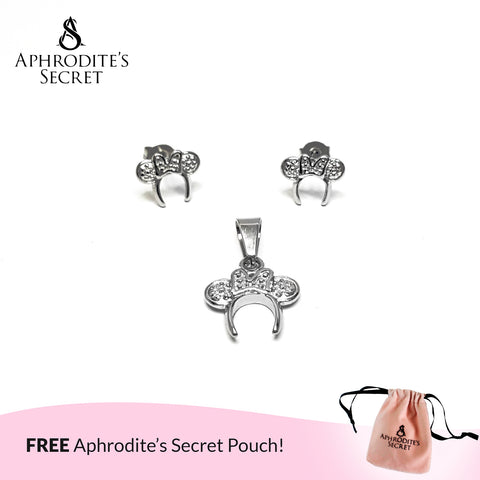 Aphrodite's Secret High Quality Stainless Steel Minnie Headband   Pendant & Earrings Set (Pandora Inspired)