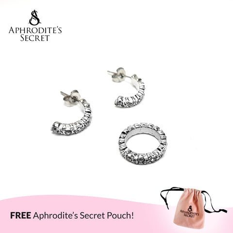 Aphrodite's Secret High Quality Stainless Steel Mickey Silver Spacer Cubic Zirconia Pendant & Earrings Set (Pandora Inspired)