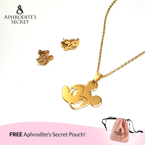 Aphrodite's Secret High Quality Stainless Steel Gold Mickey Pendant Design Necklace & Earrings Set
