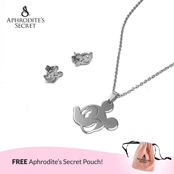 Aphrodite's Secret High Quality Stainless Steel Silver Mickey Pendant Design Necklace & Earrings Set