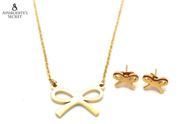 Aphrodite's Secret High Quality Stainless Steel Gold Ribbon Pendant Design Necklace & Earrings Set