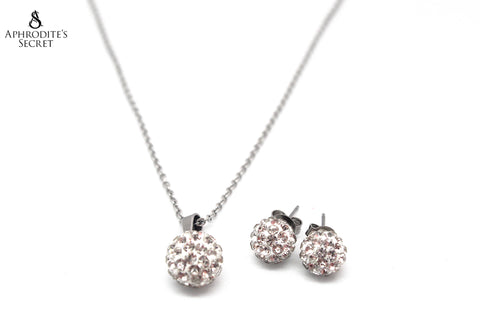 Aphrodite's Secret High Quality Stainless Steel Ball Shaped Stud Pendant Design Necklace & Earrings Set