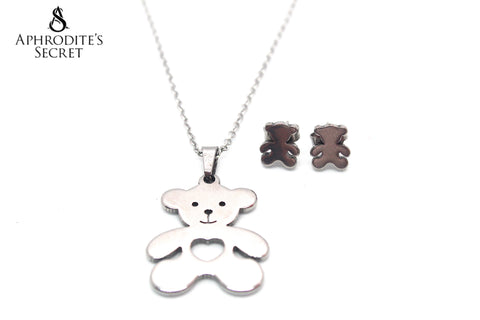 Aphrodite's Secret High Quality Stainless Steel Bear Pendant Design Necklace & Earrings Set
