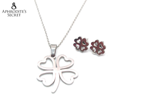 Aphrodite's Secret High Quality Stainless Steel Four-Leaf Clover Pendant Design Necklace & Earrings Set