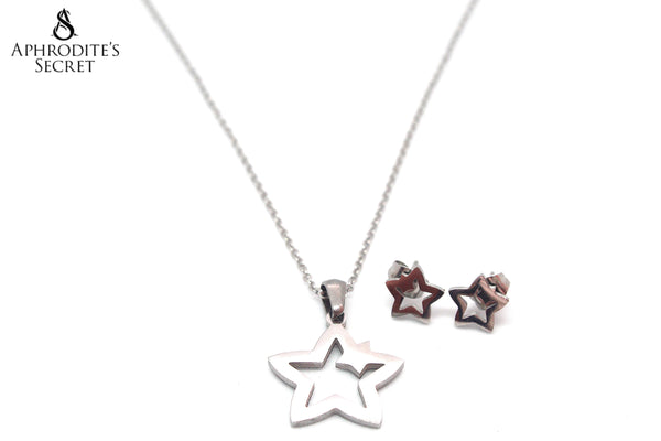 Aphrodite's Secret High Quality Stainless Steel Star Pendant Design Necklace & Earrings Set