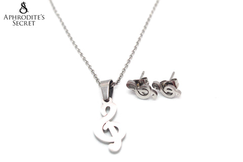 Aphrodite's Secret High Quality Stainless Steel Musical Note Pendant Design Necklace & Earrings Set