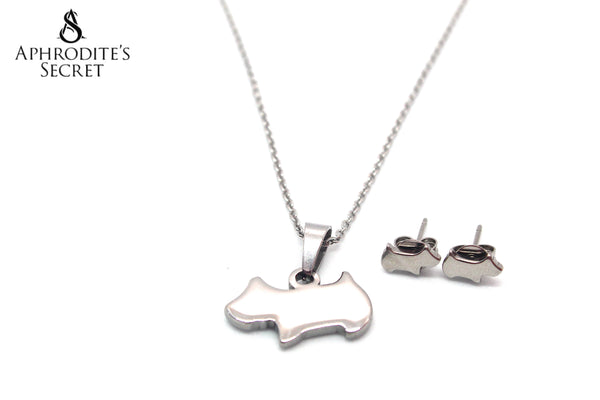 Aphrodite's Secret High Quality Stainless Steel Dog Pendant Design Necklace & Earrings Set