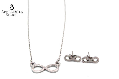 Aphrodite's Secret High Quality Stainless Steel Shimmering Infinity Pendant Design Necklace & Earrings Set