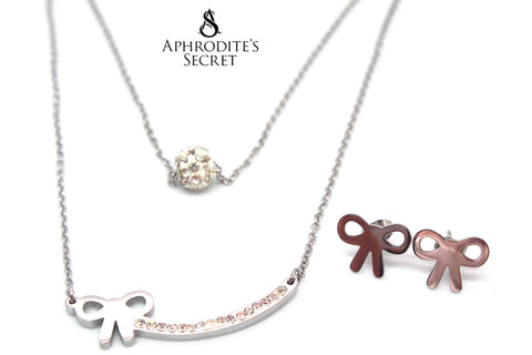 Aphrodite's Secret High Quality Stainless Steel Studded Ball Shaped & Ribbon Pendant Design Necklace & Earrings Set