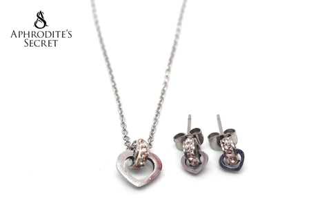 Aphrodite's Secret High Quality Stainless Steel Interlinked Circles Stud Design Necklace & Earrings Set