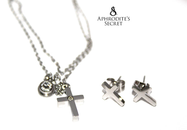 Aphrodite's Secret High Quality Stainless Steel Cute Cross Design Necklace & Earrings Set