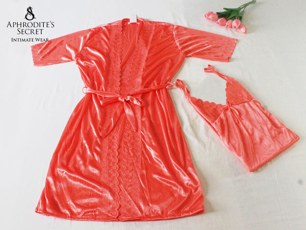 Aphrodite' Secret Chase New Design High Quality Satin Robe Sleepwear Set (Peach)