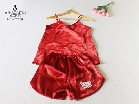 Aphrodite' Secret Classic Satin Patched up Lace Sleepwear Set (Red)