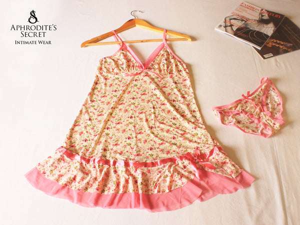 Aphrodite's Secret High Quality Floral Design Sleepwear Set (Baby Pink)