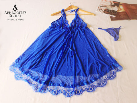Aphrodite' Secret High Quality Sheer Nightdress Halter Lace up Design (Blue) Plus Size