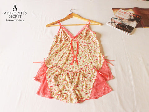 Aphrodite's Secret High Quality Floral Design Sleepwear Set (Peach)