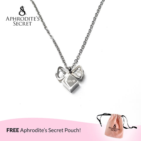 Aphrodite's Secret High Quality Stainless Steel Ribbon + Love Design Pendant & Necklace