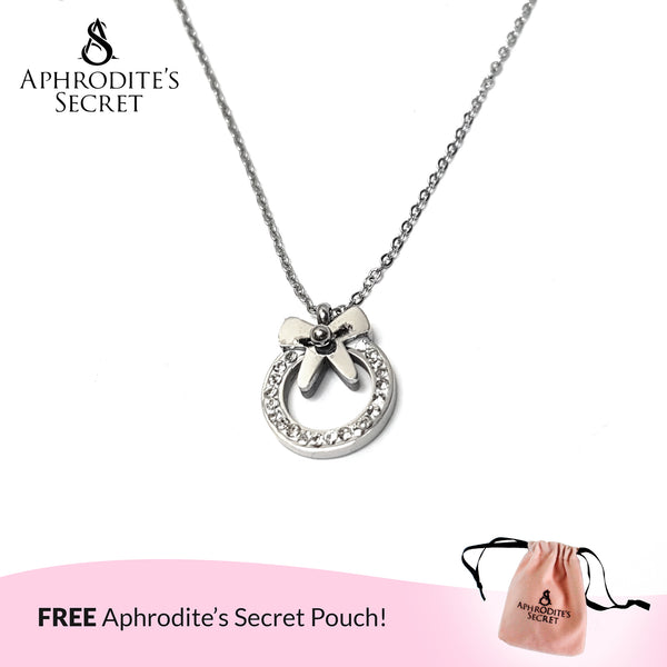 Aphrodite's Secret High Quality Stainless Steel Lovely Ribbon Design Pendant + Necklace