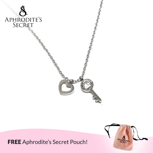 Aphrodite's Secret High Quality Stainless Steel Heart + Key Design Pendant & Necklace