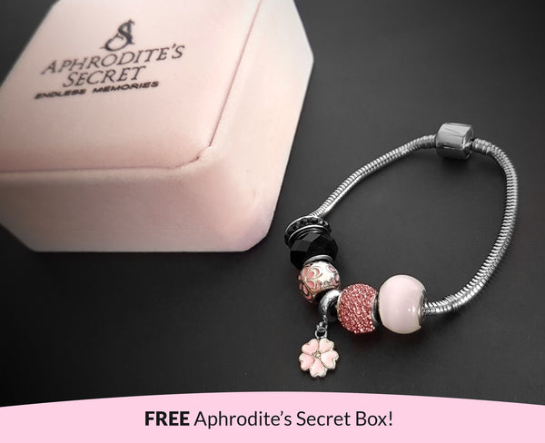 Aphrodite's Secret High Quality Bracelet with Charms (Pandora Inspired) Girly & Pink -Themed Stainless Steel 19CM