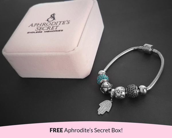 Aphrodite's Secret High Quality Bracelet with Charms (Pandora Inspired)  Hand Charm & Something Blue-themed with stoppers Stainless Steel 19CM