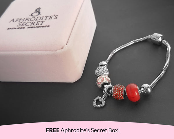 Aphrodite's Secret High Quality Bracelet with Charms (Pandora Inspired)  Heart Charms & Something Red-Themed with stoppers Stainless Steel 20CM