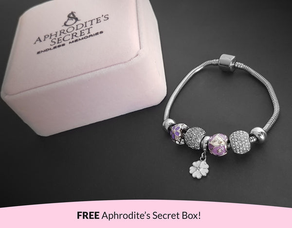 Aphrodite's Secret High Quality Bracelet with Charms (Pandora Inspired)  Floral Charm &  Dazzling in White-Themed with stoppers Stainless Steel 20CM