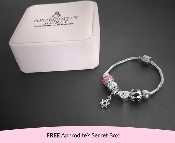 Aphrodite's Secret High Quality Bracelet with Charms (Pandora Inspired)  Star Charm & Something Silver-Themed with stoppers Stainless Steel 19CM