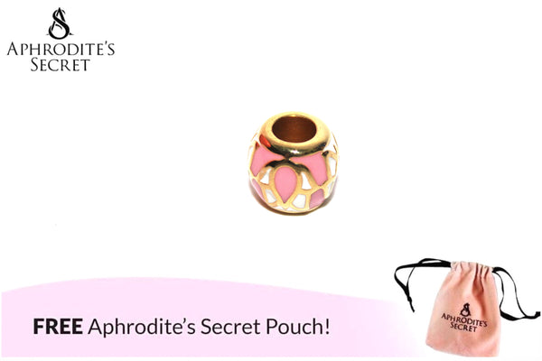 Aphrodite's Secret High Quality white & Pink details Charm Bead (Pandora Inspired) Stainless Steel (Gold)