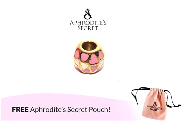 Aphrodite's Secret High Quality Gold Pink & White Heart Charm Bead (Pandora Inspired) Stainless Steel
