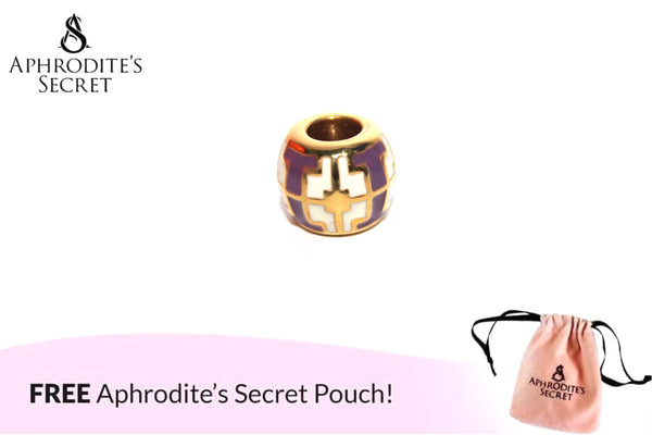 Aphrodite's Secret High Quality Purple Diagonal Detail Charm Bead (Pandora Inspired) Stainless Steel (Gold)