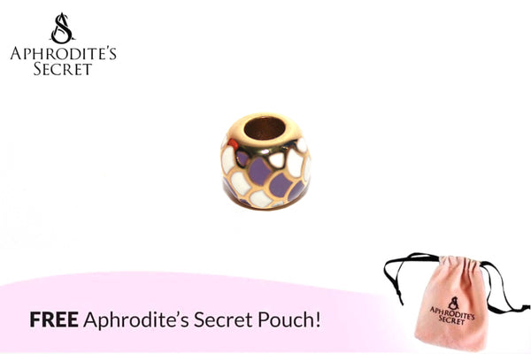 Aphrodite's Secret High Quality Purple & White Details Charm Bead (Pandora Inspired) Stainless Steel (Gold)