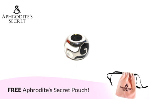Aphrodite's Secret High Quality Black & White Swirl Details Charm Bead (Pandora Inspired) Stainless Steel