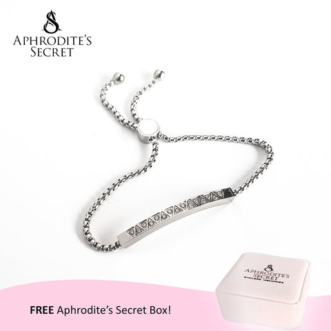 Aphrodite's Secret High Quality Sliding Clasp Bracelet Sparkling Rectangular-Shaped design