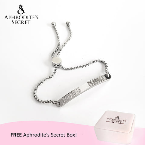 Aphrodite's Secret High Quality Sliding Clasp Bracelet Sparkling Curve-Shaped design (Pandora Inspired) Stainless Steel